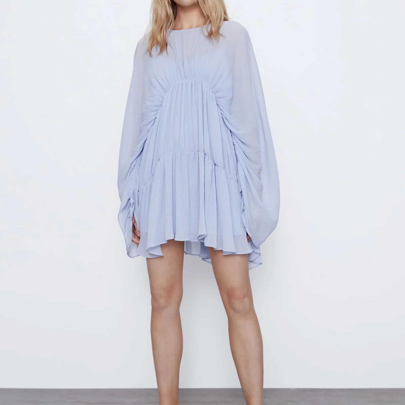 2020 nuove donne di luce blu drappeggiato pieghettato il vestito che scorre scollo tondo allentato-montaggio maniche lunghe abiti lacci regolabili femminile