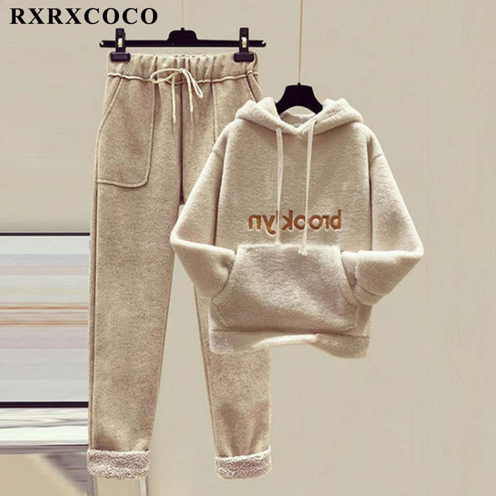 RXRXCOCO Oversized Hoodies Women Thickened Imitation Lamb Wool Tops Winter Casual Loose Long Sleeve Sweatshirt Hoodie Sweatshirt 1
