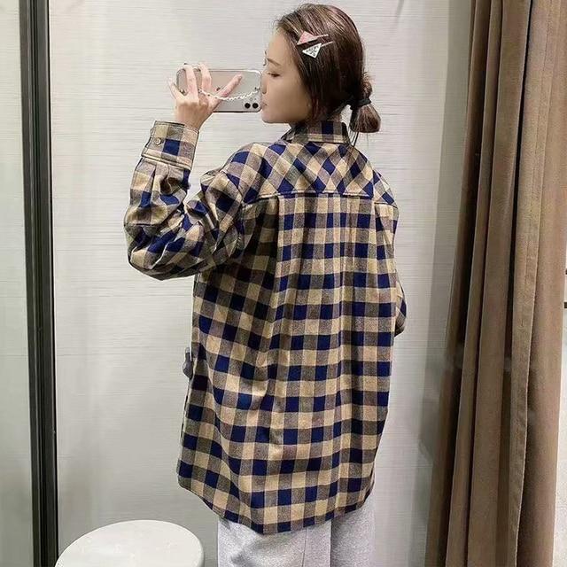 ZA 2020 New Fashion Women Plaid printing chiffon shirt Turn down Collar Blouses Long Sleeve Chiffon Shirt Casual Loose Tops 6