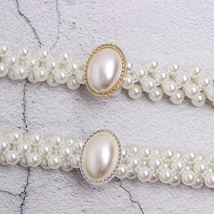 Cinturón blanco perla mujeres chicas moda diy hebillas obag Correa cinturones Niza alta calidad caída cinturones de barco hebillas - 2