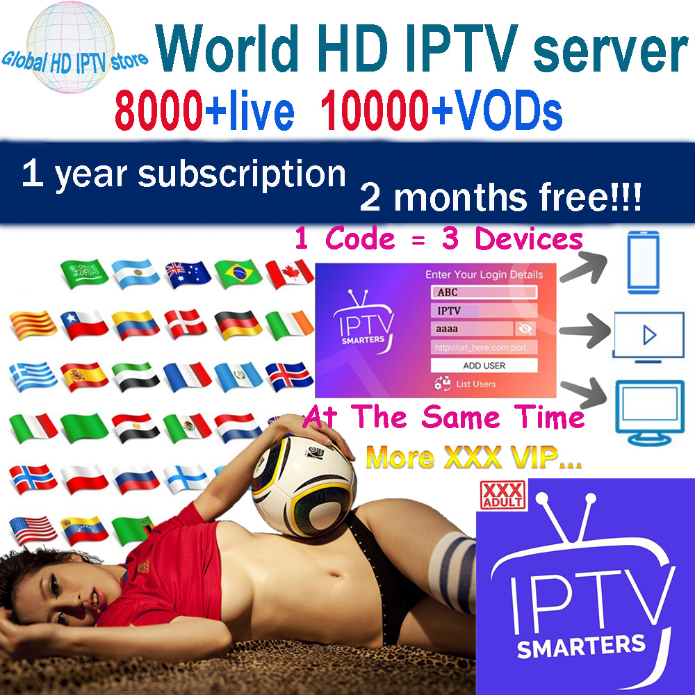 World HD IPTV Subscribe 8000 Live 10000 VOD Adult IPTV Europe French Spain  Tv Box M3U Android IPTV Smarter Support 3 Devices