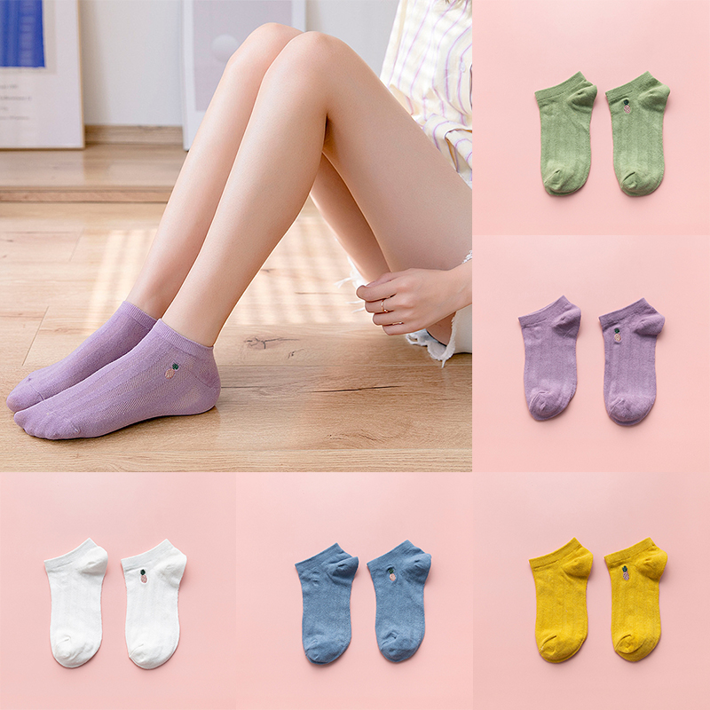 1 Pair Embroidery Fruit Socks Women Fashion Breathable Cotton Mesh Casual Socks Casual Ladies Solid Color Short Socks Calcetines