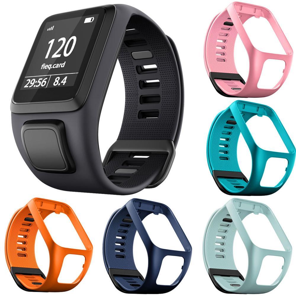 Substituição de silicone pulseira relógio banda cinta para tomtom runner 2 3 faísca 3 gps esporte relógio tom 2 3 série macio banda inteligente