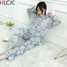 Womens Pajamas Sets Autumn Cotton Flamingo Lapel Top + Long Pant 2 Piece Sets Pajamas Set For Women Sleepwear Girls Pyjamas Suit