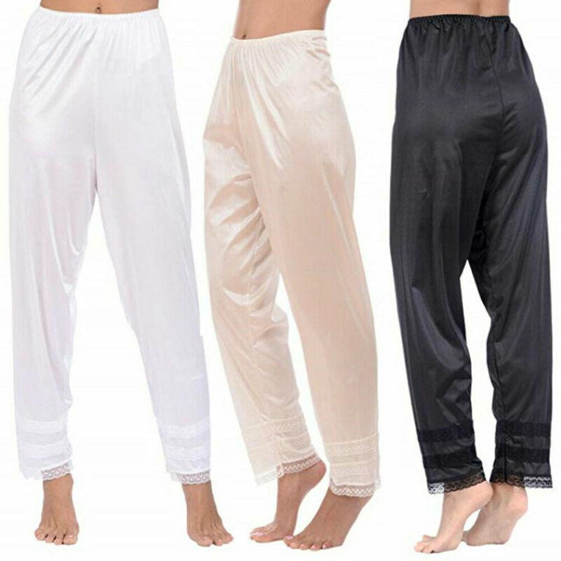 Womens Pajama Pants Wide Leg Casual Lounge Sleep Bottoms Elastic Waist Satin Lace Loose Sleepwear Trousers