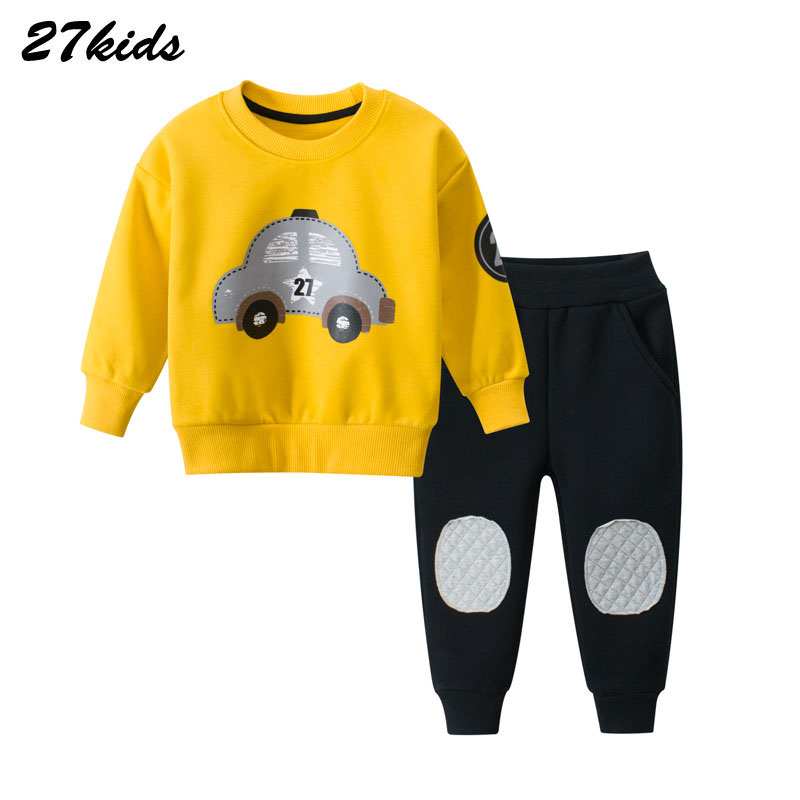 Cartoon Car Pattern Children Clothing Winter Toddler Boys Clothes Kids Clothes Suit Christmas Costume For Boy Clothing Set 2