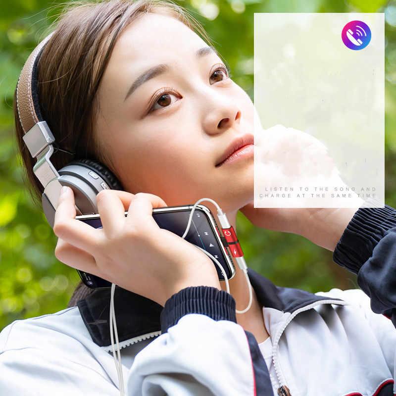 2 w 1 podwójne porty adapter AUX do słuchawek konwerter dla Iphone 7 8 Plus X XS Max XR 10 11 Pro ładowania rozdzielacz audio akcesoria