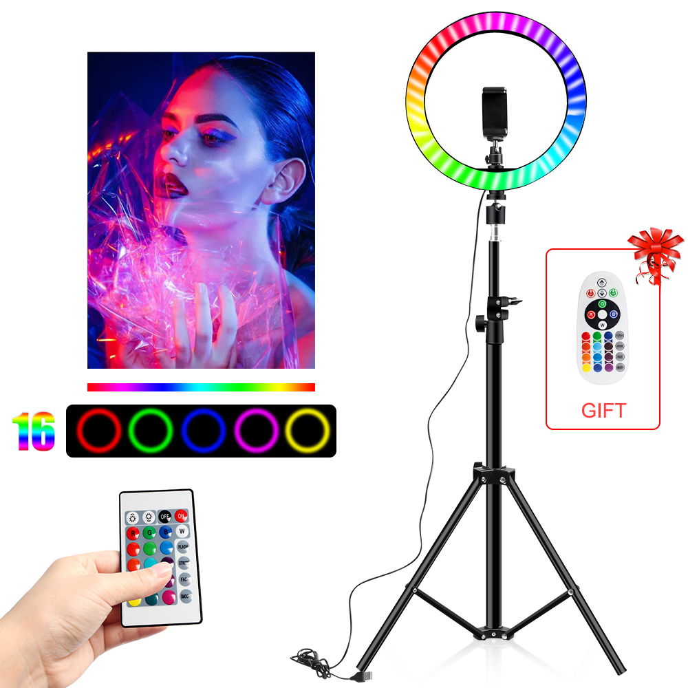 10 Inch Led Ring Light Usb RGB Ringlamp USB Light Ring Photo Selfie Lamp with Remote Phone Stand for Streaming Video Photography