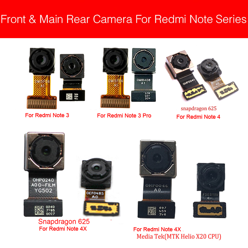 Front & Back Rear Camera Module For Xiaomi Redmi Note 3/Note 4 4X Pro Global/MTK Small Big Main Camera Flex Cable Repair Parts