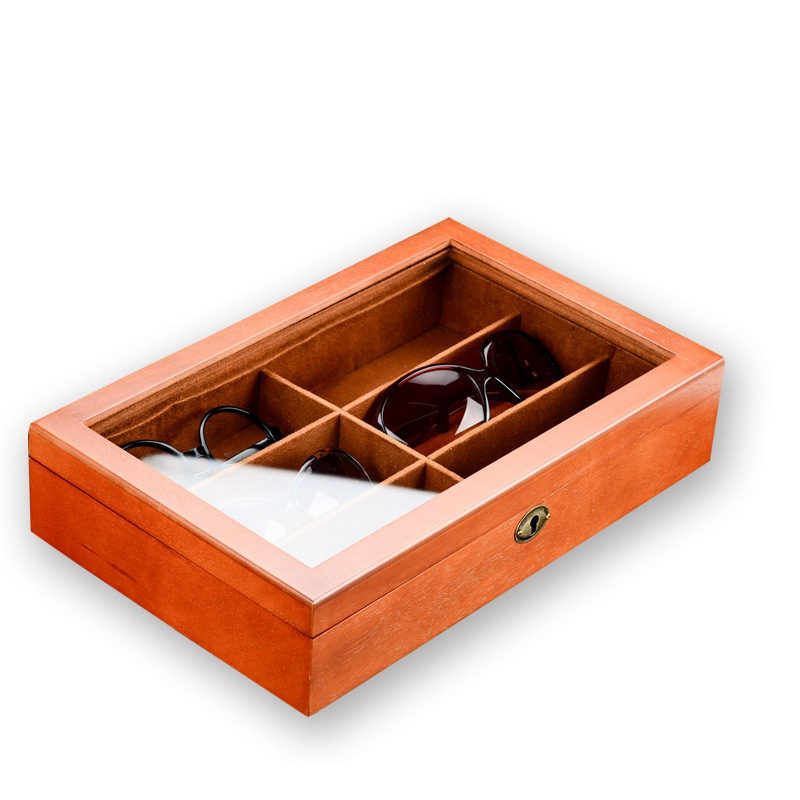 Big deal Wooden 6 Grids Glasses Storage Box Sunglasses Storage Organizer Eyeglasses Display Organizer Jewelry Box with Cover