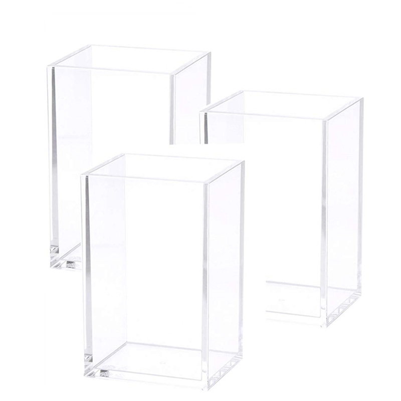 Acrylic Pen Holder Clear Desktop Pencil Cup Stationery Organizer Pot Holders For Office Desk (3 Pack)