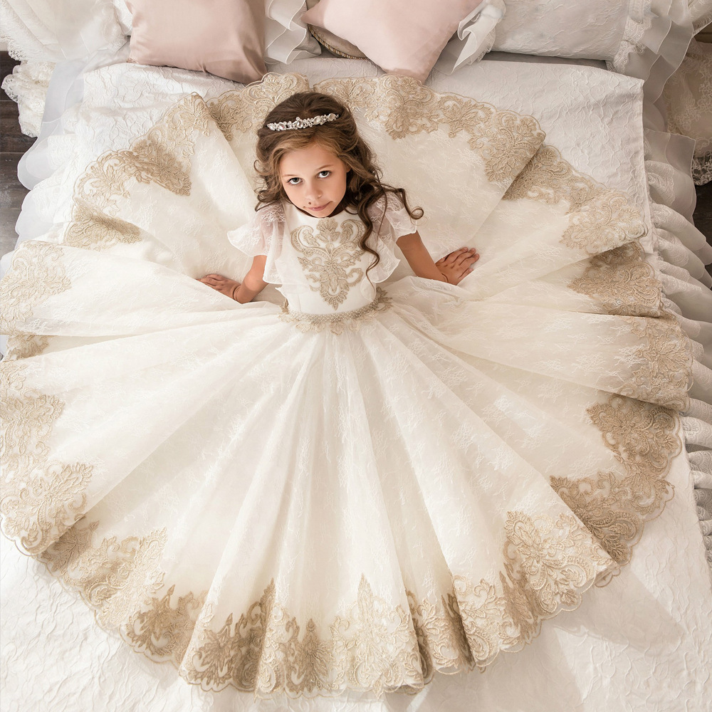 2020 New White Ivory Flower Girls Dresses With Gold Lace Applique A Line Communion Gowns Princess Kids Girls Pageant Dress