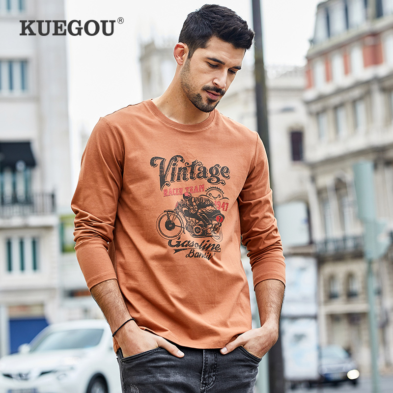 KUEGOU  Men's Long Sleeve T Shirt Men Spring The Fashion Leisure Printed Cotton Round Neck Brand Tshirt  ZT-7773