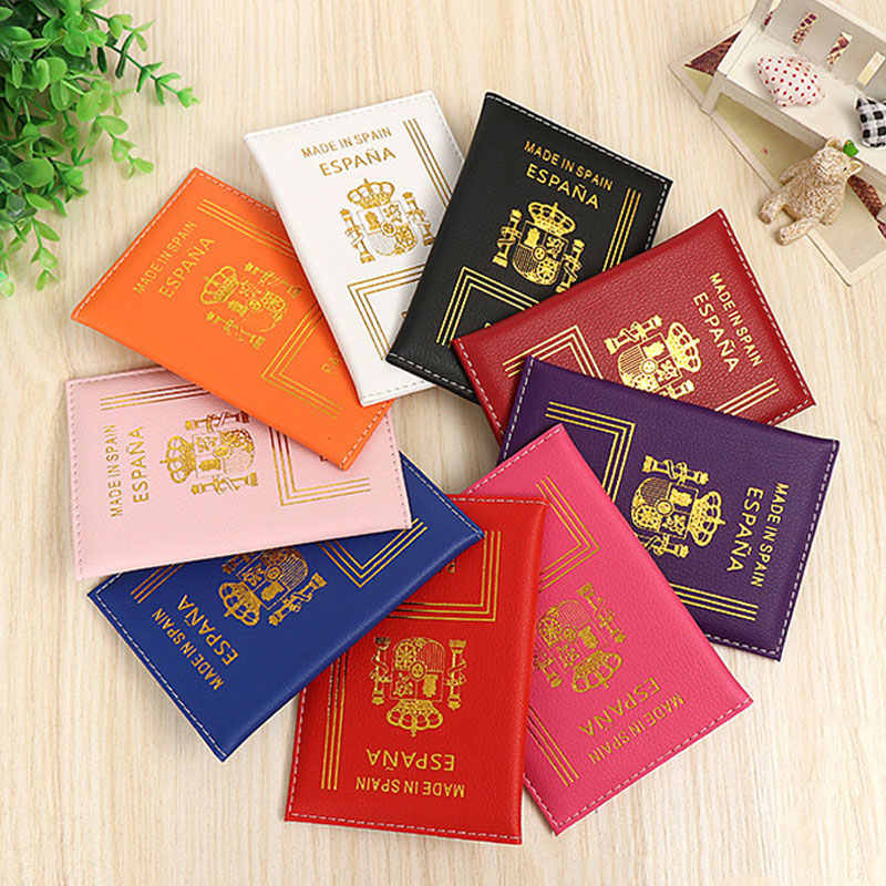 Fashion multi-color travel document protection cover Multi-function Spain Passport Holder Cover Protector Business Card