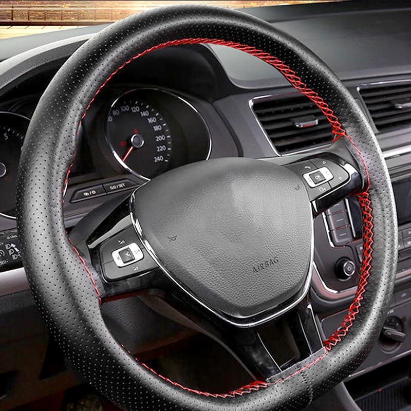 Diy 36 38 40 cm volante cobre trança de couro macio no volante do carro com agulha e linha acessórios do carro