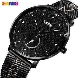 SKMEI Бизнес Кварцевые часы мужские модные простые мужские наручные часы водонепроницаемые часы из нержавеющей стали часы reloj hombre 9218