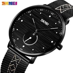 SKMEI biznes kwarcowe zegarki mężczyźni moda proste męskie zegarki na rękę wodoodporna stal nierdzewna zespół godzina zegar reloj hombre 9218
