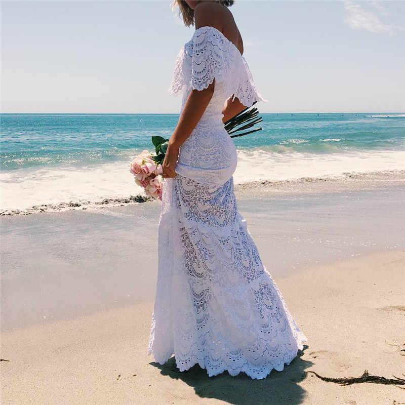 ZOGAA женское платье Сексуальное Кружевное с открытыми плечами Slash шеи белое платье Вечерние пляжные платья элегантные летние длинные платья 2019