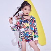 Hip Hop Dance Clothes for Girls Jazz Dance Child Costume Fashion Print Vest Shorts Coat Jacket Stage Performance Dancing Outfit