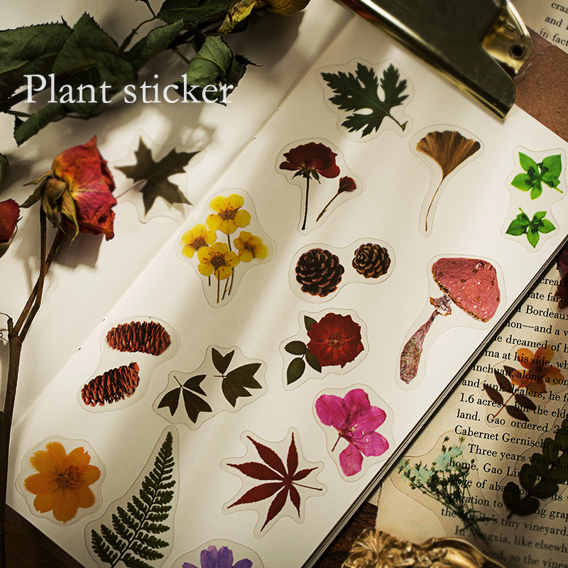 Plant Collection Series Bullet Journal Decorative Stationery Stickers Scrapbooking DIY Diary Album Vintage Flower Stick Lable