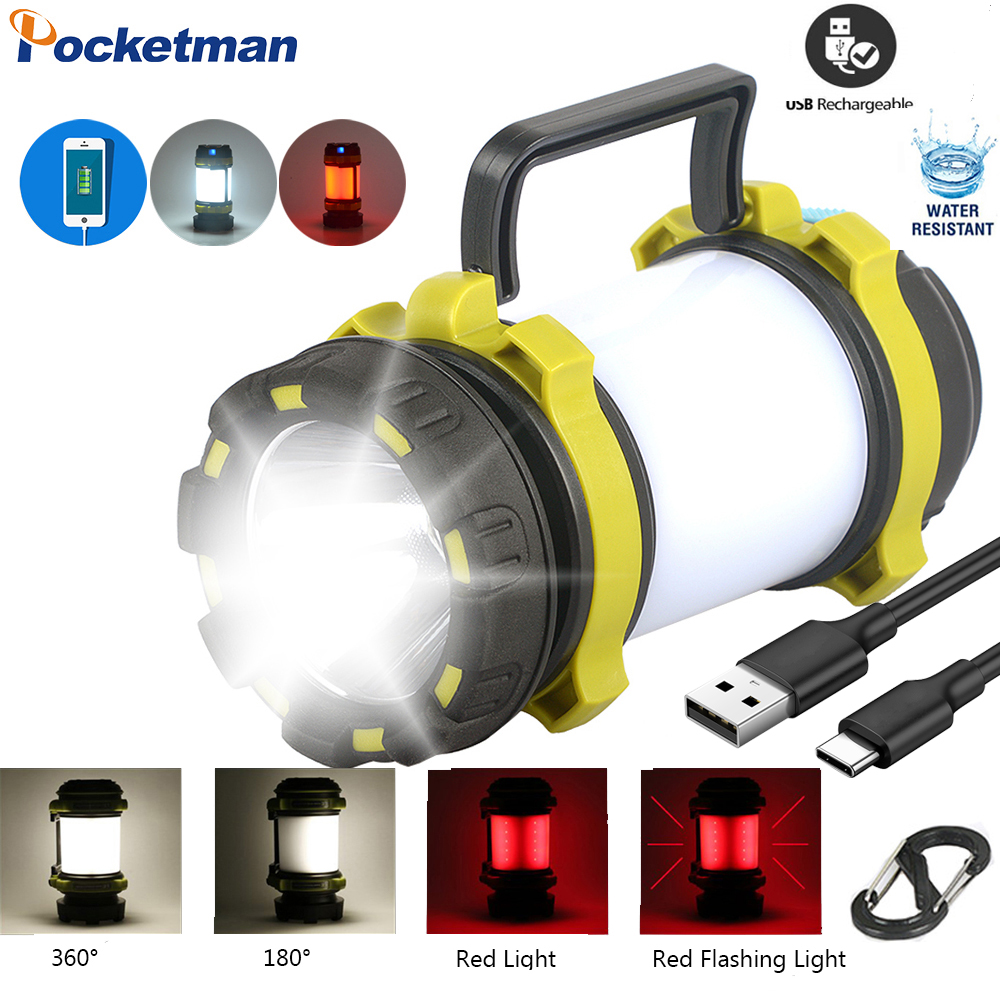 Rechargeable Led Flashlight Torch Dimmable Spotlight Light Waterproof Searchlight Emergency Torch Camping Flashlight With Usb