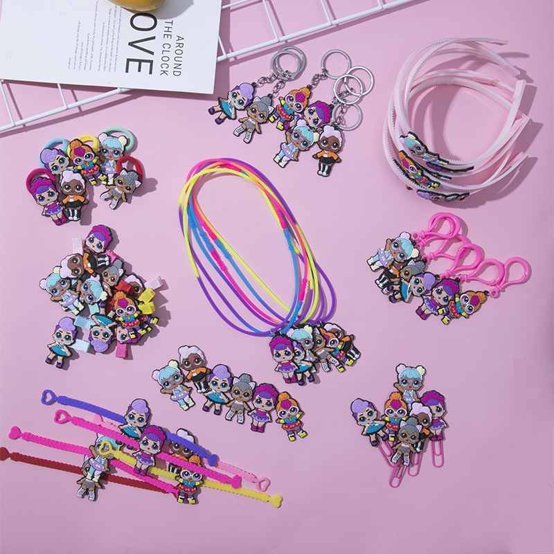 A Pcs Lol Doll Surprise Soft Rubber Headband Hair Clip Refrigerator Stickers Necklace Ring Bookmark Key Ring Children's Jewelry
