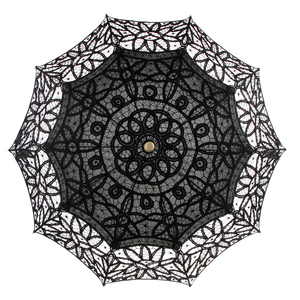 Image 2 - اليدوية القطن الدانتيل المطرزة مظلة واقية من الشمس الزفاف دش ديكور أسود