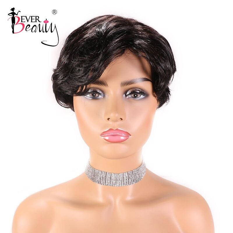 Brazilian Short Bob Human Hair Wig 100% Human Hair Wig For Black Women Wavy Non Lace Pixie Cut Wig Ever Beauty