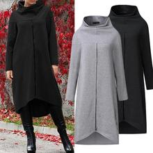 Fashion Plus Size Women Sweatshirt Dress Long Sleeve Stand Collar Zip Decor Warm Hoodie Sweatshirt Midi Dress For Women's Clothi plus size merry christmas skew collar sweatshirt