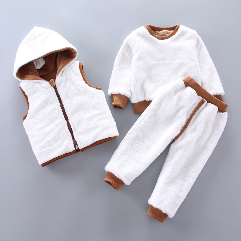0-4 years old winter new baby boy clothes warm clothes baby girl cartoon plus velvet thick hooded sweater three-piece baby suit 5