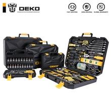 Набор ручных инструментов DEKO, универсальный бытовой набор ручных инструментов с пластиковым ящиком для инструментов, чехол для хранения, торцевой ключ, отвертка, нож