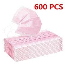 Máscara facial não tecida descartável da tela de 600/100/10 pces máscara facial da anti-poluição 3 camadas filtro máscara da boca da cara mascarilla rosa