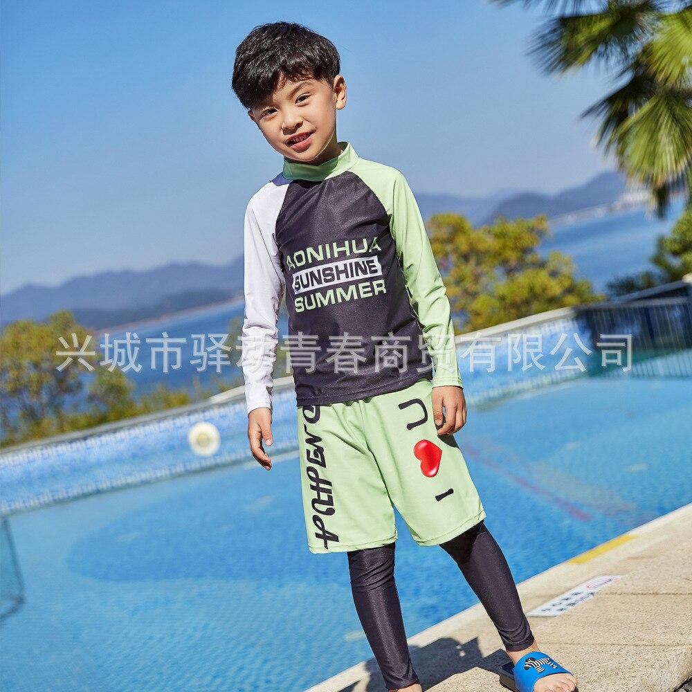 AliExpress Export KID'S Swimwear BOY'S Cute Hot Springs Two-piece Swimsuits Trousers Long Sleeve Sun-resistant Male Baby Swimwea