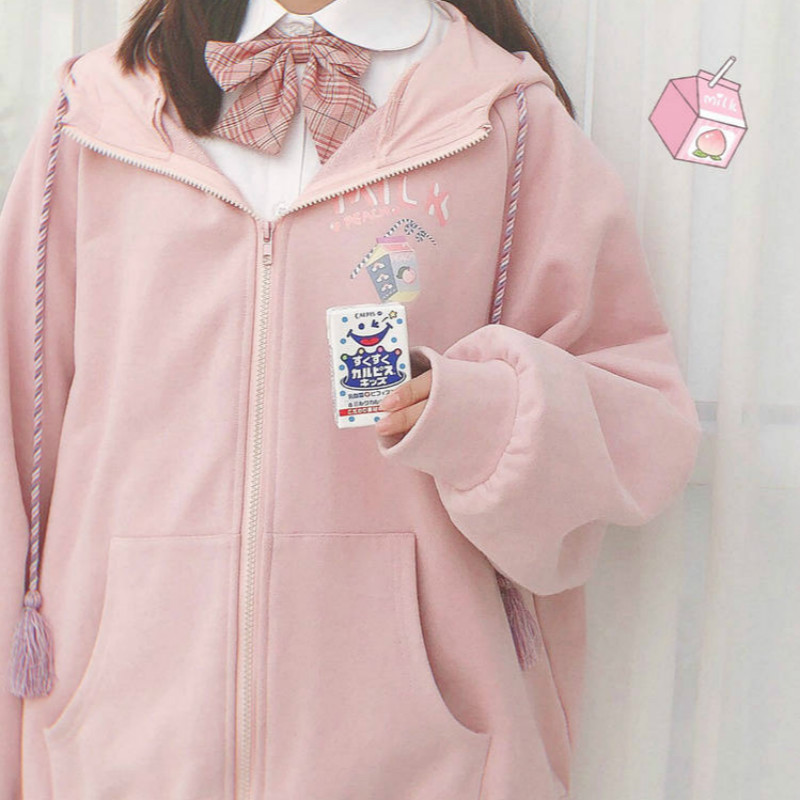 Harajuku Sweet Cute Style Hoodies Sweatshirt Schoolgirl Winter Loose Thin Cartoon Zip Up Hoodies Hoodies Woman Streetwear