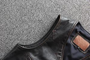 Image 5 - Men Cowhide Genuine Leather Vest  Motorcycle Biker Leather Vests Mens Real Leather Vintage Casual Sleeveless Jackets Waistcoat