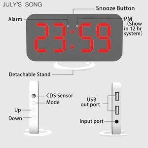 Image 5 - JULYS שיר מראה שעון מעורר הדיגיטלי LED שעוני USB טלפון טעינה אלקטרוני שעון שולחן נודניק אוטומטי מתכוונן אור שעונים