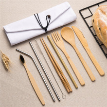 10PCS portable cutlery set wooden tableware toothbrush chopsticks forks knives spoons Straight Bent Straw for travel