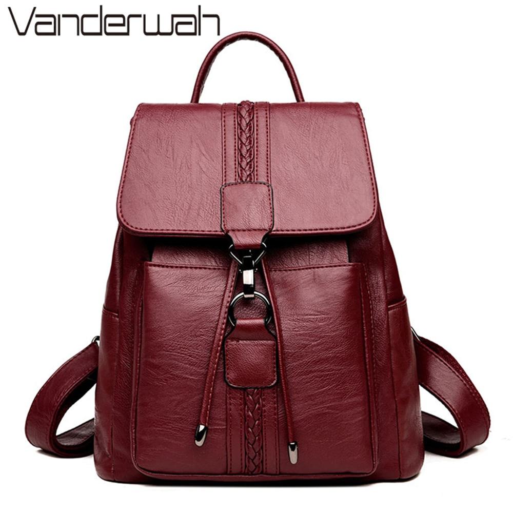 Bagpack Luxury Women Backpack Genuine Leather Backpacks for  Teenage Girls Female School Shoulder Bags For Women 2019 Mochila  SacBackpacks
