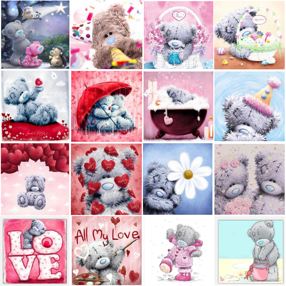 5D Diamond Painting Cute Animal Teddy Bear Round Diamond Embroidery Mosaic Home Decoration Pattern DIY Handmade New Year Gift