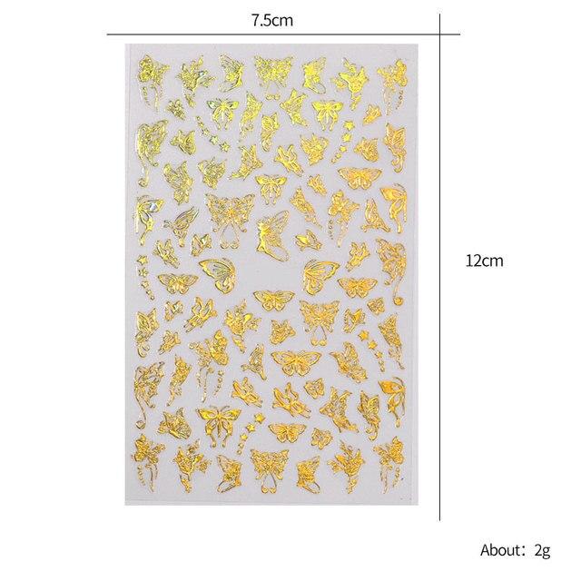 1 лист золотистых серебристых 3d наклеек для ногтей с бабочками фотография