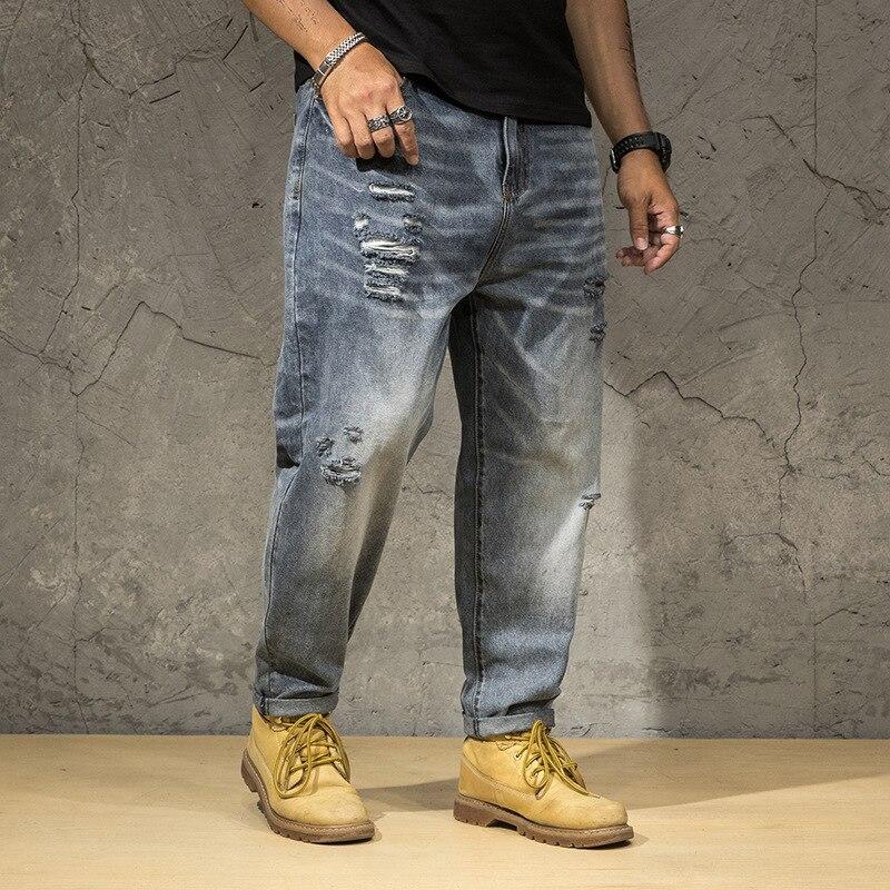 Ripped Jeans Men 2020 Plus Size Vintage Pant Holes Denim Trouser Male Fashion Distressed Blue Baggy Loose Men's Jeans Large Size