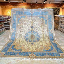 YILONG 9'x12' Silk on silk turkish silk rugs big size handknotted persian carpet