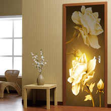 Door Decor Stickers Print Self Adhesive Golden Flowers Picture Creative Waterproof 3D Mural Renovation Decals For Living Room(China)