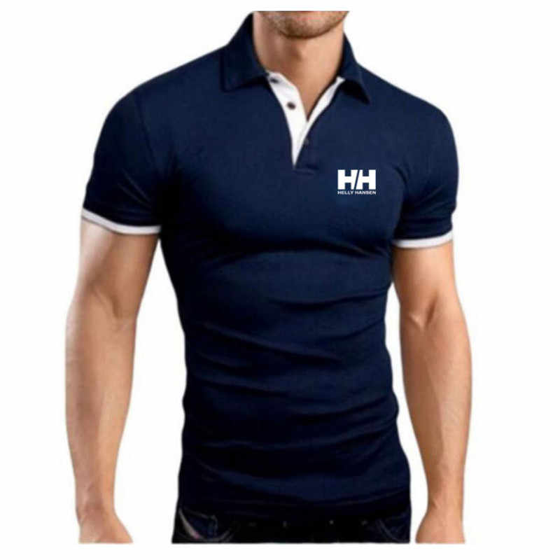 New Fashion HH Helly Hansen Printed Men H Polo Shirt Lapel Collar Slim Fit Tops Casual Classic brand Male Polos Shirts M-5XL
