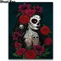 Алмазная картина «сделай сам», полноразмерная круглая вышивка крестиком с изображением розы, черепа, девушки, 5D Алмазная мозаика, фэнтези-а...