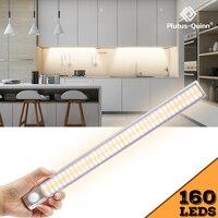 Sensor de movimiento PIR de 80/120/160 LED, luz LED para debajo de gabinete de atenuación, Sensor de tiempo de detección nocturna para cocina, armario y escaleras
