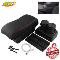 Leather Arm Rest Center Console Storage Box Armrest Box USB Charger with For 2007 2017 Suzuki Jimny