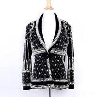 High Quality Women Blazer Jackets 2019 New Fashion Paris Brand Designers Handmade Beading Blazer jacket Female Party Suits
