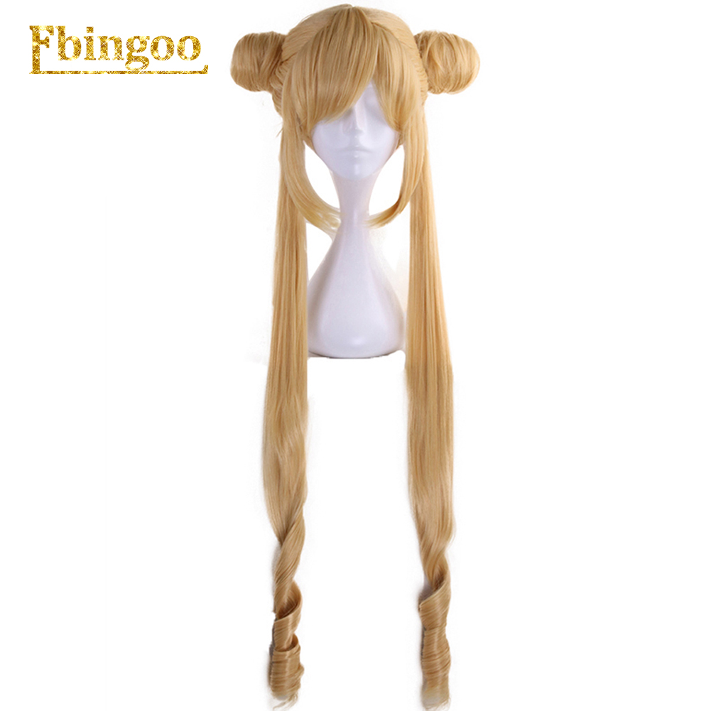 Ebingoo Sailor Moon Double Ponytail Long Straight Blonde Lemon Yellow Synthetic Cosplay Wig for Halloween Costume Party image