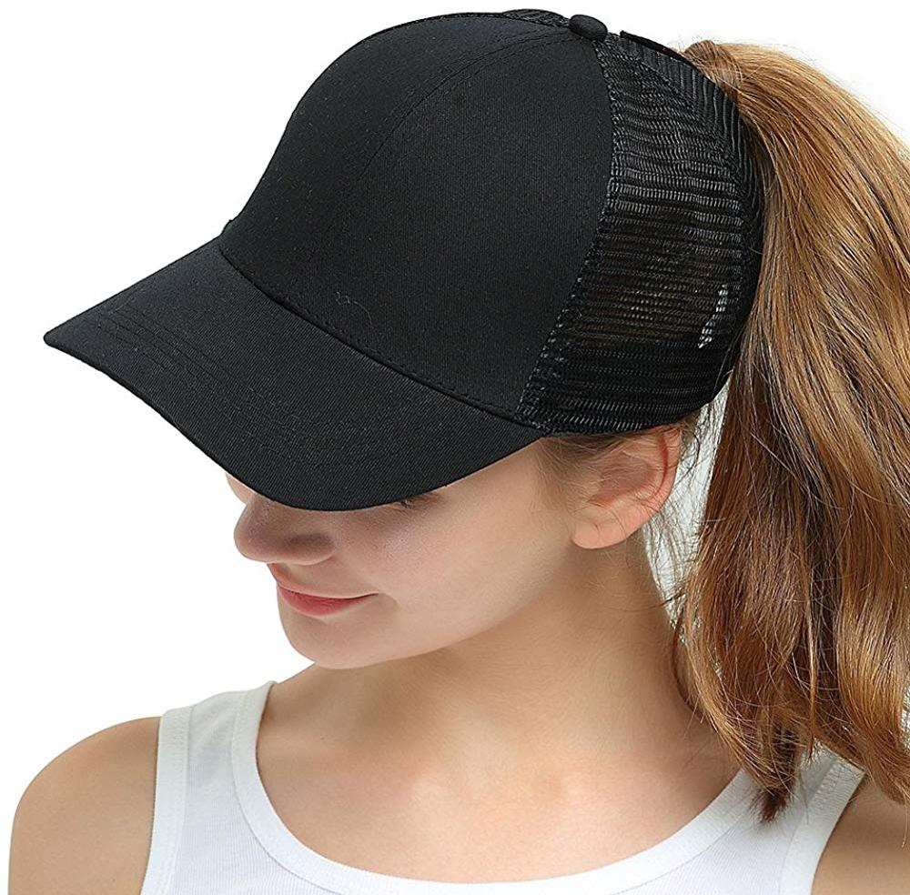 2018 Women Ponytail Baseball Cap High Bun Ponycap Adjustable Mesh Visor Sun Cap